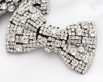 Black Bow Applique, Crystal Applique, Butterfly Applique, Beaded Rhinestone Crystals Applique, Sewing Applique, Flat Back Applique
