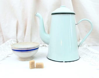 Antique Gooseneck Kettle Pale Mint Green Enamelware Coffee Pot in Excellent Condition, Vintage Country Decor Enamel Cafetiere from France