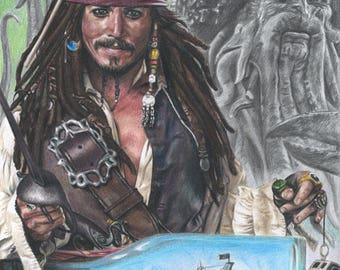 "Print of Original Colored Pencil Drawing of Johnny Depp as Jack Sparrow from ""Pirates of the Caribbean"" with Davy Jones and The Black Pearl"