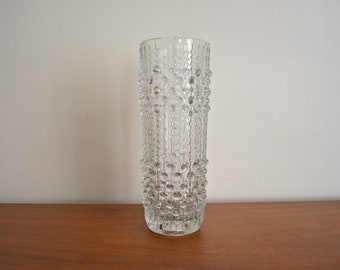 Vintage Czech Sklo Union Candle Wax Crystal Glass Vase by Frantisek Pecent. Mid Century Minimal Flower Vase. Clear Glass Tall Glass Vase