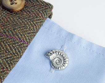 Ammonite Fossil Cufflinks Fossil Gifts Pewter & Silver jewelry