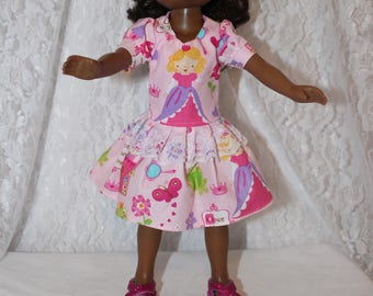 Back to School Princes Print Dress with Lace and Sparkly  Shoes. Handmade to fit the wellie wisher and Heart to Heart doll Free Shipping