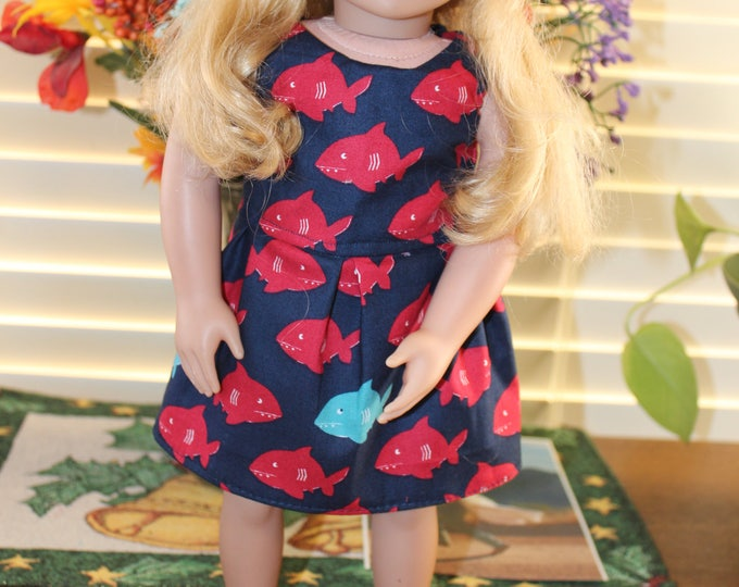 Ready to Party Fish Print Dress Matching Shoes and Hat Made to fit the AG and other 18 inch dolls FREE SHIPPING
