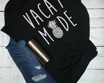 Vaca Mode Shirt, travel shirt, graphic tee, pineapple shirt, vacay tank, womens graphic shirt, honeymoon shirt, summer graphic tee