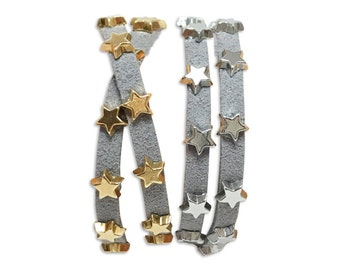 Star Studded Double Wrap Bracelet, Gold OR Silver
