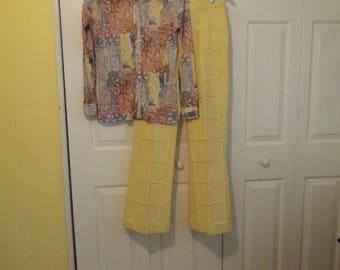 Women's Vintage 1960s Shirt, Groovy Polyester 1960s Shirt, Vintage Shirt by Stuffed Shirt,