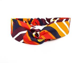 African Print Headband/ Ankara Headband/ Geometric Print/ Vlisco / Red Orange/ Turban Headband/ Fabric Headband/'Amara' Style