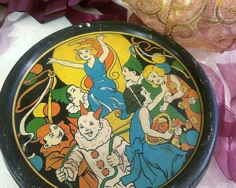 Roaring 20s Jazz Age Tin Box, Antique English Toffee Tin, Sovereign, Vintage Tin Box, Colorful, Devil Clown, Princess, 1920s Box