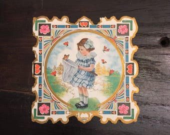 Beautiful Antique c 1920s Valentines Day Card Art Deco Little Girl Butterfly Net, Ornate Frame, Vintage Greeting Card Whitney Made