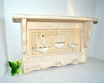Nautical Wooden Shelf with Pegs Hooks and Canvas, Wood Ships Beach House Decor Ivory Beige