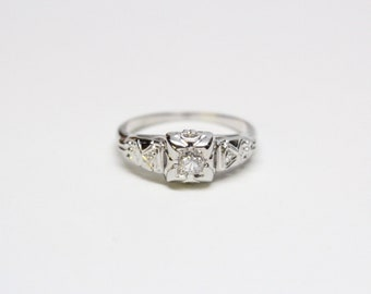 Vintage Mid-Century 14k White Gold Diamond Ring
