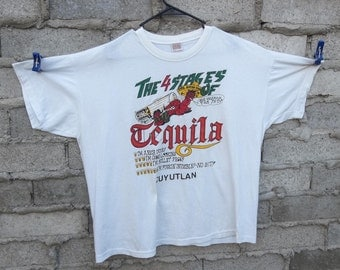 Vintage T-shirt Tequila 1980s Liquor Memorabilia sz Large Funny Worms Mexican Old Mexico Spirits Beer Funnies