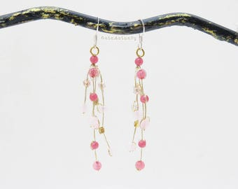 Pink stone earrings with crystal, brass beads on gold silk thread - sterling silver ear wires, dangle earrings