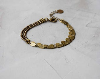 Bronze chain and silver sequins chain bronze MULTISTRAND bracelet