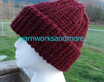 Burgundy Knit Hat, Winter Hat, Knit Hat, Loom Knit Hat, Brick Red Hat, Burgundy Hat, Knit Cap, Beanie, Warm Hat, Unisex Hat, Gifts Under 20