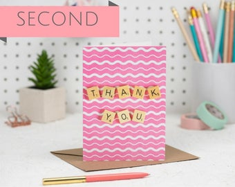 SECONDS Thank You Card, Pink Thank You Card, Scrabble Inspired Greetings Card | Claireabellemakes