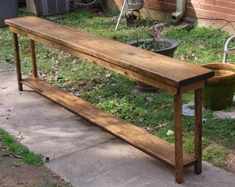 """84"""" Rustic Console Table Extra Narrow Sofa Table Entryway Hallway Foyer Table with Shelf 84 Inch Long"""