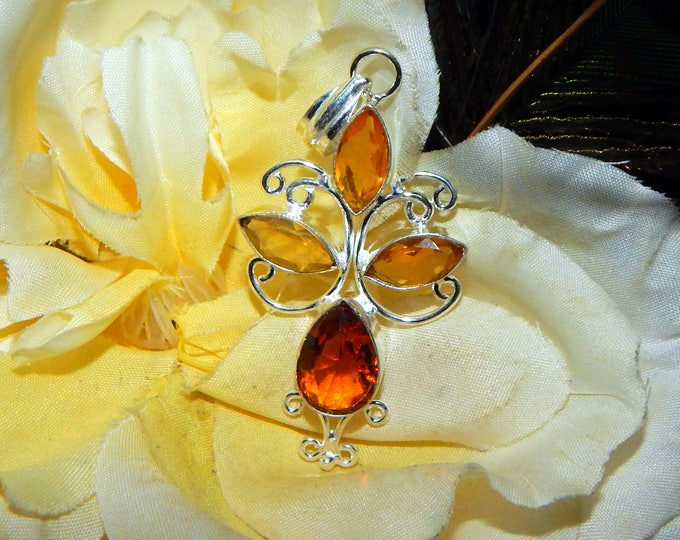 Whimsical Hybrid Fae-Elf inspired vessel - Handcrafted Citrine & Cognac Citrine pendant with chain