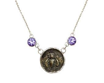 "Honeybee Bee Necklace - Rustic - Amethyst Gemstones -  16-18"" Sterling Silver Necklace"