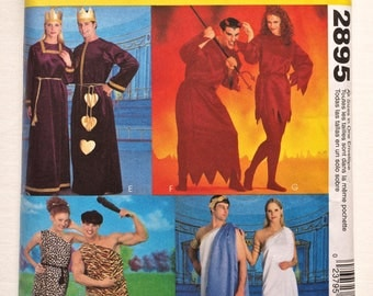 McCall's 2895 Misses', Men's and Teen Boys Tunic Costume Pattern includes Roman Couple, Cave People, King and Queen of Hearts and Devils