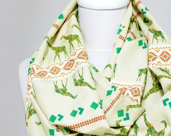 Giraffe Pattern Scarf Cream Infinity Scarf Circe Scarf Gift For Her Wife Unique Print Scarf Fall Winter Fashion Accessories Birthday Gift