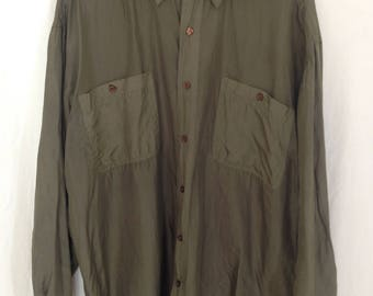 Oversized Vintage Sage Green Silk Button Down Shirt