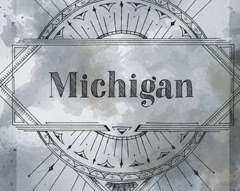 MICHIGAN Notebook - Urban Chic styled book or Vintage Typography notebook specifically Art Deco 1920s