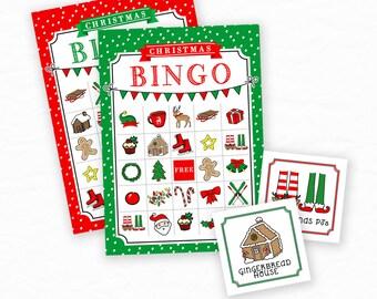 Printable Christmas Bingo Cards, Christmas Activity, Christmas Clipart Art, 16 Bingo Cards, 33 Calling Cards, Christmas Printables for Kids