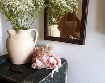 Lovely Little Antique Bathroom Mirror Wooden Frame Foxed Glass