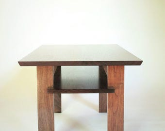 Solid Walnut Narrow Coffee Table: for small living room- Custom Wood Furniture