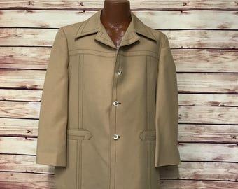70's vintage mens yellow coat jacket