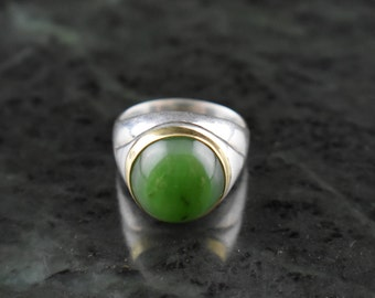 Big Sur Jade one of a kind silver ring with gold bezel