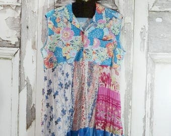 Summer Sleeveless Dress, Upcycled Clothing, Funky Clothing, Wearable Art, Gypsy Style, Boho Chic Dress