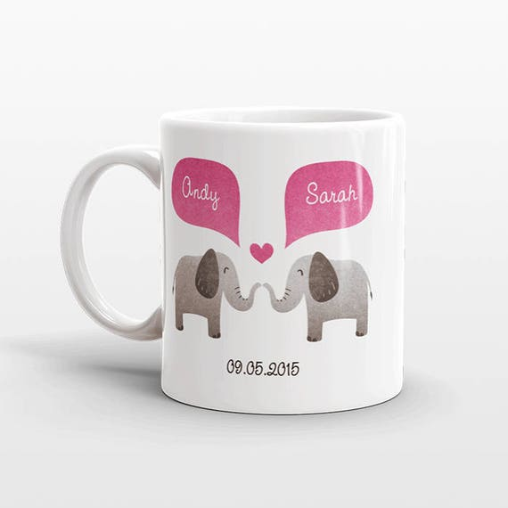 ELEPHANT Mug Personalized Valentines Day Gift for Him for Her Engagement Gift Animal Couple Mug Unique Coffee Mug Coffee Cup Animal Mug
