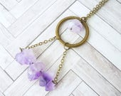 Amethyst Necklace, Crystal Necklace, Bohemian Necklace, Boho Necklace, Purple Necklace, Gypsy Necklace, Gifts for Her, Geometric Necklace