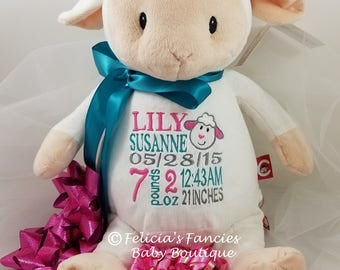 "Personalized Baby Gift, Lamb ""Loverbee"" Baby Cubbies Stuffie, Special Personalized Baby Gift by Felicia's Fancies Baby Boutique"