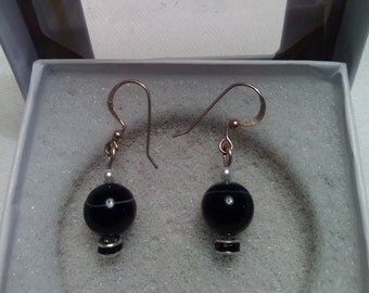 Earrings-Natural Black Onyx w/Rondelle & Small Pearl Accents in .925 SS