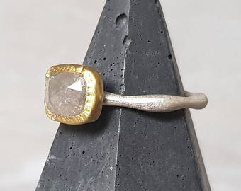 Rose cut diamond ring- big cushion rose cut diamond ring- 22k gold diamond ring- rose cut diamond ring- engagement ring- stacking ring