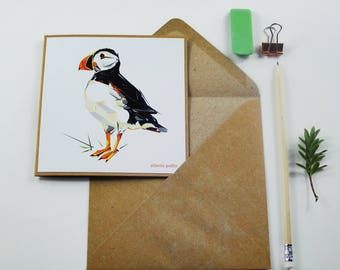 Puffin - Greetings Card - Handmade - Illustration - Wildlife - Nature - Art - Design - Gift - Bird - Seabird