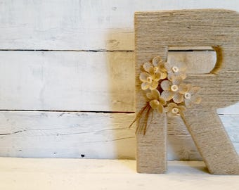 Jute Wrapped Letters | Custom Letters | Wedding Letters | Nursery Letters | Bridal Shower Decor | Wall Letters | Room Letters