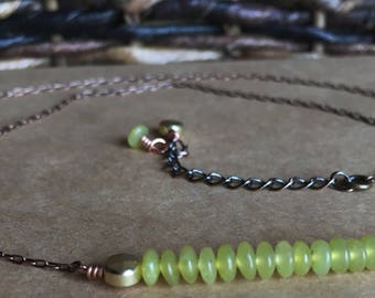 Green Jade Bar Necklace, 17.5 inches - 19.5 inches