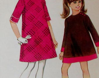 Vintage 1967  McCalls Designed By Helen Lee Sewing Pattern Girls Dress in Two Versions Pattern #8857  Size 8