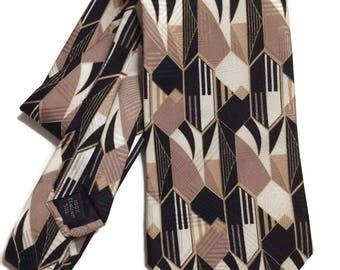 Geometric Print Tie, Vintage Italian Silk Tie, Vintage Neckties, Black and Gold Tie,  Mens Tie