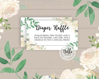 Diaper Raffle, Diaper Raffle Ticket, Baby Shower Invitation Insert, Diaper Game for Baby Shower Diaper Game, Greenery,White Roses, Floral