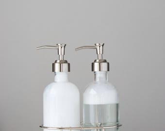 Glass Soap Dispenser Set with Metal Pump +  Chrome Silver Metal Caddy