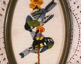 Great Tit birds embroidered picture in oval frame embroidery nature