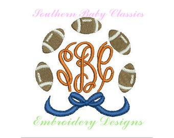 Football Bow Monogram Frame Circle Design File for Embroidery Machine  Instant Download