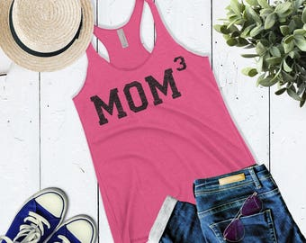 Cute Mom 3 Tank Top. Mom of Three tank. Mother of 3 shirt. Mom Cubed tank top. Mother's Day Gift For Mom. New Mom Gift.