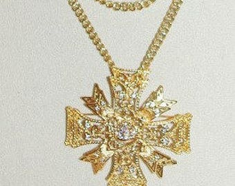 KJL Pin Pendant Maltese Cross Necklace Gold Tone - S2196