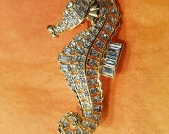 Nolan Miller Seahorse Brooch - Gold Tone with Crystals  - S2320